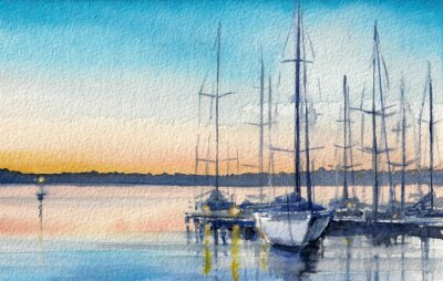 Fototapeta Letni krajobraz z żaglówek w zatoce.