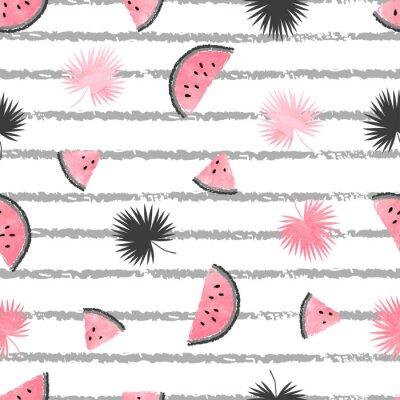 Fototapeta Letni wzór z różowymi i czarnymi plasterkami arbuza i liści palmowych. Wektor bezszwowych tła tropikalnych.