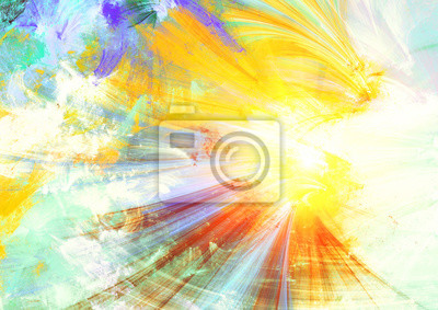 Letnie słońce. Streszczenie jasny kolor malarstwa tekstury w efekcie o? Wietlenia. Nowoczesne artystyczne tło ruchu i flash. Dobry futurystyczny wzór. Fraktalna grafika do kreatywnego projektowania gr