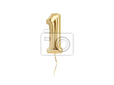 Fototapeta Liczbowy 1. Foliowy balonowy numer Jeden odizolowywający na białym tle