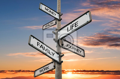 Fototapeta Life balance choices signpost, with sunrise sky backgrounds
