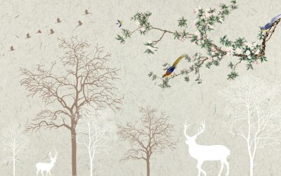 Fototapeta Light background, the contours of trees, deer and birds, a thin green flowering tree branch