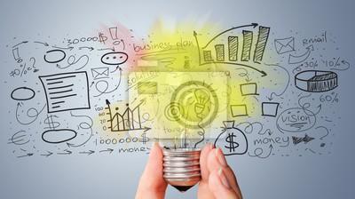 Fototapeta Light bulb banner, marketing concept, business idea. info graphic