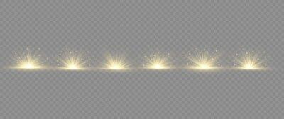 Fototapeta Light effect explosion sun, glitter spark flash.