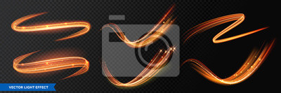 Fototapeta Light effect trails, golden glitter glow waves and sparkling flare tails. Abstract vector fire light with flash sparkles effect on transparent background