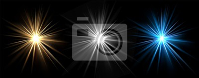 Fototapeta Light effects. Vector light stars. Glow bursts isolated on black background. Illustration flash light effect, blue and white