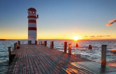 Fototapeta Lighthouse at Lake Neusiedl at sunset - Austria
