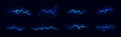 Fototapeta Lightning, electric thunderbolt strike of blue color during night storm, impact, crack, magical energy flash. Powerful electrical discharge, Realistic 3d vector bolts set isolated on black background