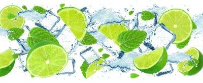 Fototapeta Lime splash i kostki lodu
