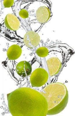 Fototapeta Limonki wchodzących w plusk wody