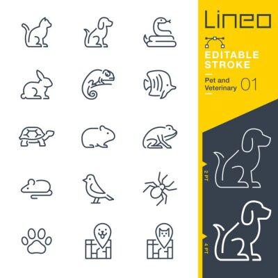 Fototapeta Lineo Editable Stroke - Pet and Veterinary line icons