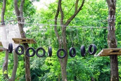 Fototapeta Liny Swinging Most na zgrupowaniu w lesie