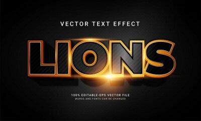 Fototapeta Lions editable text style effect with animal wild life theme