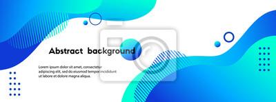 Fototapeta Liquid abstract background. Blue fluid vector banner template for social media, web sites. Wavy shapes