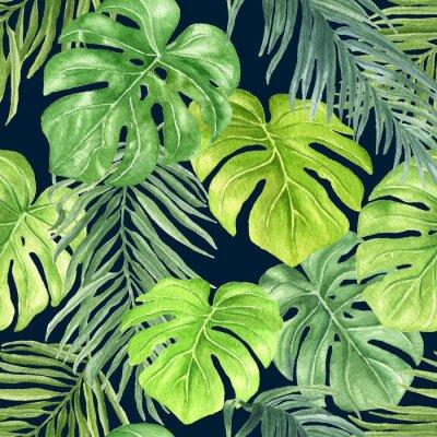 Fototapeta Liść dłoni Akwarele powtarzając deseń, wyciągnąć rękę kolorowe tropikalnych botaniczne bez szwu ilustracji na ciemnym tle niebieskiego.