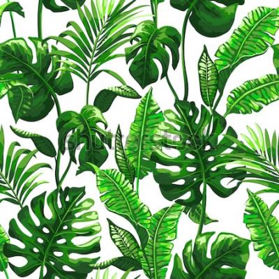 Fototapeta Liście palmowe tropikalny tło. Bezszwowe wektor wzór z dżungli pozostawia w modnym stylu.