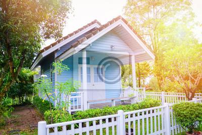 Fototapeta little house garden / Blue house cottage garden summer in green plant and tree background