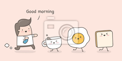Fototapeta Little man following his breakfast. Cute cartoon doodle illustration.