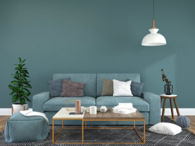 Fototapeta Living room decorated with chairs, sofa and small plant pots