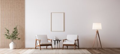 Fototapeta Living room design with empty wall mockup, two wooden chairs on white wall, copy space