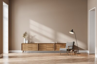 Fototapeta Living room interior with cozy armchair, panoramic window and sideboard