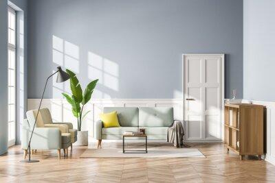 Fototapeta Living room interior with sofa, bookshelf wooden floor. Concept of cozy meeting reading place. Panoramic window. 3d rendering