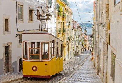 Fototapeta Lizbona 's Gloria linowa połączy centrum z dzielnicy Bairro Alto.