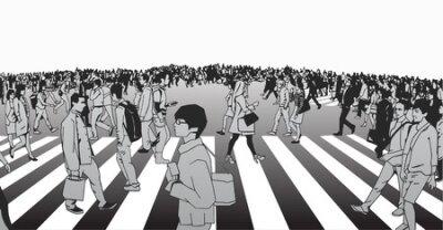llustration mieszanego etnicznego tłumu skrzyżowanie ulicy na zebrze w środowisku miejskim w skali szarości