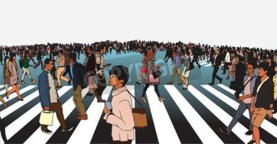 llustration mieszanych etnicznych tłum przekraczania ulicy na zebry w środowisku miejskim w kolorze