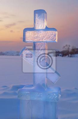 Lód na zachodzie słońca krzyż