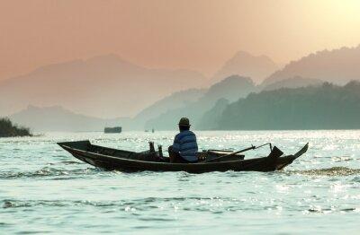 Fototapeta Łódź w Laosie