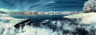 Fototapeta łodzi na rzece