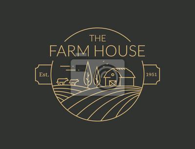 Fototapeta Logo konspektu w gospodarstwie domowym. Godło linii wektor.