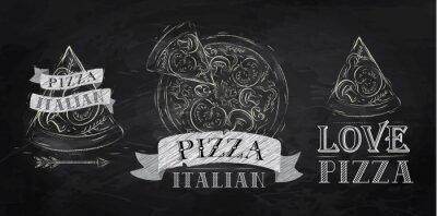 Fototapeta Logos Pizza, ikony i kawałek kredy do pizzy
