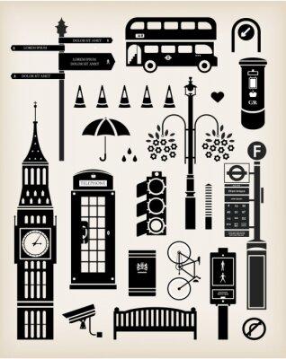 London city street zestaw ikon