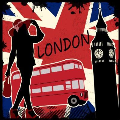 Fototapeta London retro plakat