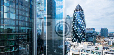 Fototapeta London skyline, office buildings in the city financial business district