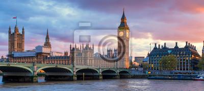 Fototapeta London Westminster Bridge i Big Ben o zmierzchu