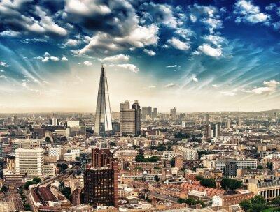 Fototapeta Londyn. Panorami z lotu ptaka panoramę miasta o zmierzchu