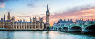 Fototapeta Londyn, Wielka Brytania panorama. Big Ben w Westminster Palace na Tamizie o zachodzie słońca