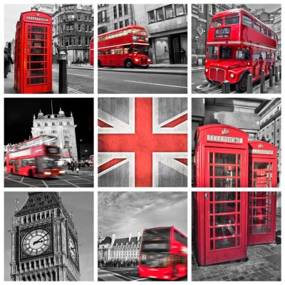 Fototapeta Londyn Zdjęcia kolaż, selektywny kolor