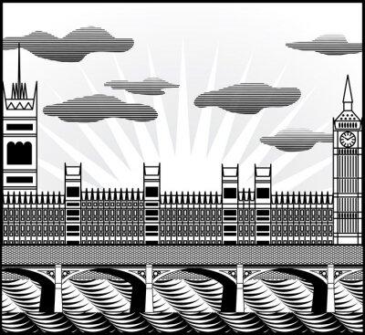 Fototapeta Londyński Big Ben, Westminster Abbey i Tamiza