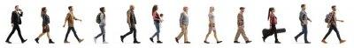 Fototapeta Long line of different profile people walking