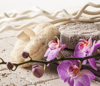 Fototapeta loofah and towel for rejuvation and femininity