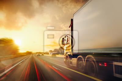 Fototapeta Lorry Cargo Transport Delivery in motion, United Kingdom M1 Motorway