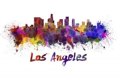 Fototapeta Los Angeles Skyline w akwareli