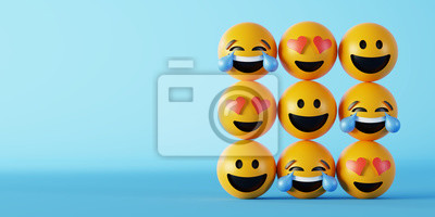 Fototapeta Love and happiness emoticon 3d rendering background, social media and communications concept