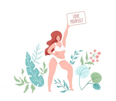 Fototapeta Love yourself. Smiling woman with plus size body wearing in lingerie. Vector illustration with green floral nature elements. Body positive concept