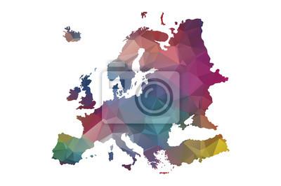 Fototapeta low poly Europe map