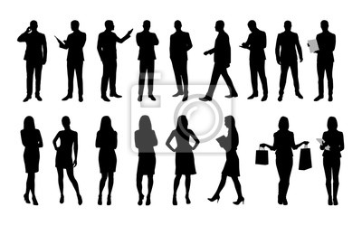 Fototapeta Ludzie biznesu, duży zestaw wektora zarysy ludzi i wome
